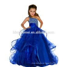 Parte desgaste vestido de niña de color azul occidental Una línea de piso de longitud decoración de diamantes sola correas de espagueti vestido de niña de fiesta