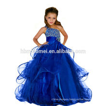 Part wear western blue color baby girl dress A line floor length diamond decoration single spaghetti straps party girl dress