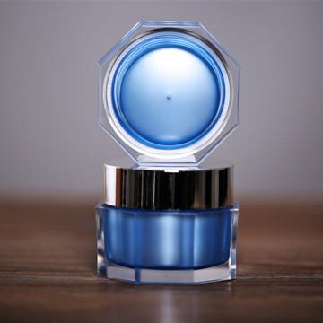 15g 30g 50g Luxury Octagonal Shape Acyrlic Jar with Shinny Silver Cap