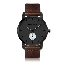 casual brown genuine leather japan movt quartz watch