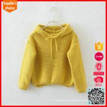El suéter grueso de la cachemira de la nueva manera hizo punto el suéter amarillo de la cachemira de los cabritos