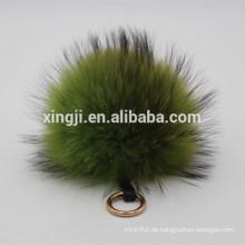 Hochwertiger natürlicher oder gefärbter echter Waschbärpelz-Ballkeychain