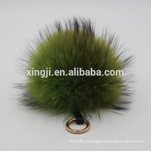 Top quality natural or dyed color real raccoon fur ball keychain