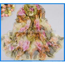 Мода сатин печатных шарф оптовик