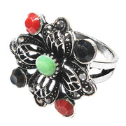 wholesale fashion women's jewelry accessories resin rings fashion metal alloy jewelry antique silver plate