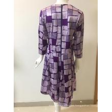 Vestido jacquard de algodón / rayón / spandex estampado