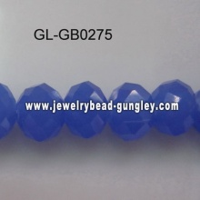 opaque roundel glass bead-medium blue