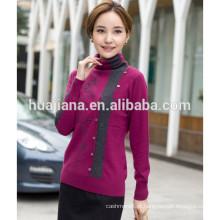 Suéter feminino de malha de confecção de caxemira