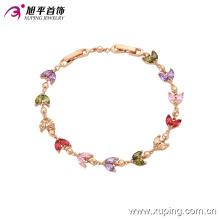 Xuping Moda Rose Gold Colorido Folha De Pedras Preciosas CZ Jóias Pulseira -74035