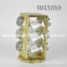 Ensemble à épices en bambou rotatif (WKB0314A)