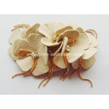 Leather Shoe Flower with Plastic Beads Gold Plated