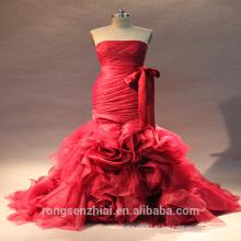 2017 ЭД реальный образец свадебные платья без бретелек рукавов Русалка Красный свадебные платья с рыбий хвост