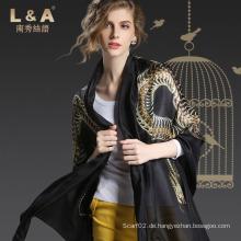Frau China Golden Dragon Pattern Silk Schals Schwarz Schal