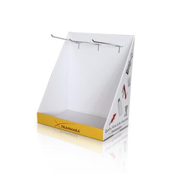 PDQ Box Portátil de promoción de cartón con ganchos de pantalla