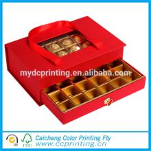 Caja de regalo de chocolate de empaquetado rígido de lujo de la ventana con los divisores