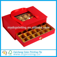 Luxury rigid window packaging chocolate gift box with dividers
