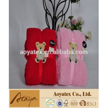 100% poliéster bordado oso de peluche de lana de coral manta de bebé