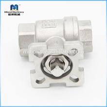 China Tipo de calidad superior ASTM CE de tres vías de montaje directo de control válvula de bola de extremo atornillado
