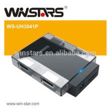 Usb 3.0 Hub de 4 portas, hub usb 5Gbps com adaptador de alimentação, Plug-n-Play e hot-swapable