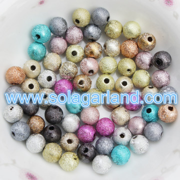 4-20MM Mixed Loose Round Acrylic Beads Glittery Metallic Beads