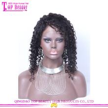 En gros de haute qualité non transformés vierge péruvienne cheveux humains perruques de dentelle pleine bouclés pour les femmes noires