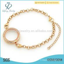 Bracelet de montre avec bascule de charme flottant, porte-clés en verre