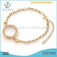 Pulseira de relógio com locket de charme flutuante, jóia de cristal da pulseira do medalhão da memória