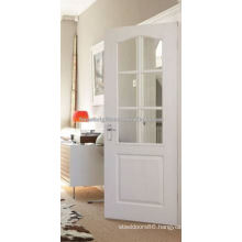 Modern Arch Top White French Door with Clear Glass