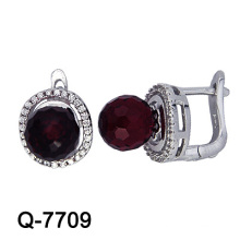 Fashion Sterling Silver Colorful CZ Stud Earrings (Q-7709. JPG