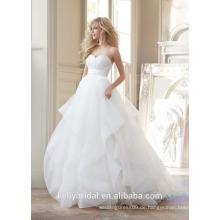 2016 Fabrik handgemachte Sleevesless A-line elegante Organza bodenlangen Brautkleid