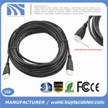 10M 30FT Gold Plated Conexão Cabo Slim HDMI V1.4 HD 1080P para LCD DVD HDTV (tampas de poeira e pacote de PP)