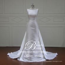 Элегантный съемный круглый шеи без рукавов атласная русалка свадебное платье