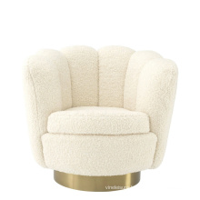 Latest Design Modern Living room Shell Sofa Armchair Fabric Accent Chair with Gold legs