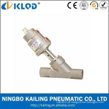 Válvula pneumática para líquidos e gases neutros e agressivos, válvula de assento em ângulo de soldadura de aço inoxidável