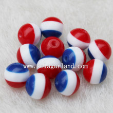 The Cute Round Striped Resin Beads with Red White Blue Color for Jewelry