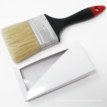 Natural White Bristle Black Plastic Handle With Red Tip Oil Paint Brushes