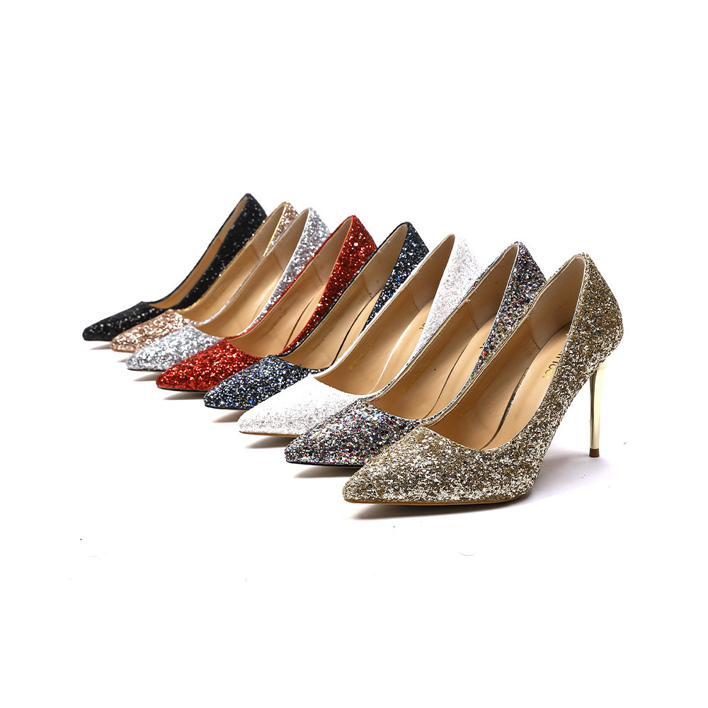 Sequin Pointed Toe Stiletto Heel Pumps
