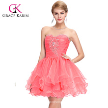Grace Karin Strapless sandía rojo rebordeado corto Puffy Homecoming vestidos CL6077-1