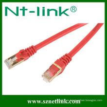 Cable de remiendo rojo del cat6a del chapado en oro