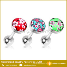 316L Surgical Steel Cherry Blossom Tongue Barbell Ring