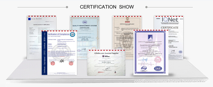 steel roll forming machines certificates