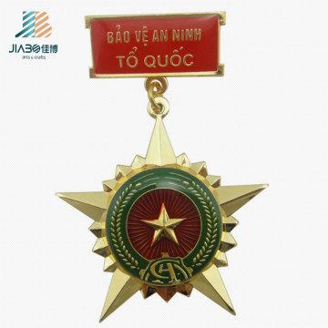 Free Sample Gold Star Custom Metal Police Badge Medal for Souvenir