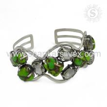 Excepcionales multi piedras preciosas plata brazalete 925 joyas de plata de ley joyas hechas a mano mayorista