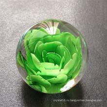 Мода Кристалл стеклянный шар с лазерной 3D цветок