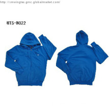Wholesale man\'s plain color zip up hoodie with custom embroidery