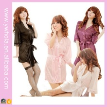 Fashion Women Sexy Lingerie Satin Robe Lace Pink Intimate Sleepwear Robe Night Gown Nightwear Dress