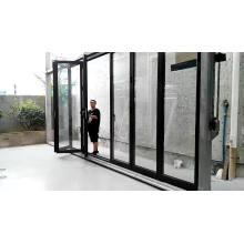 Super septiembre que compra Nuevo producto Puerta de perfil de aluminio de vidrio plegable de Italia con hardware