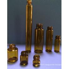 Flacon en verre tubulaire ambre Mini 5ml pour l'emballage cosmétique