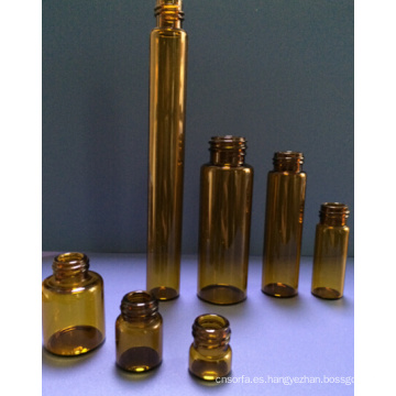 Frasco de cristal Tubular Mini de color ámbar de 5ml para el embalaje cosmético