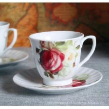 Flor de estilo europeo grabado Porelain taza de café